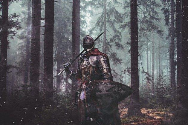 Caballero en un bosque.