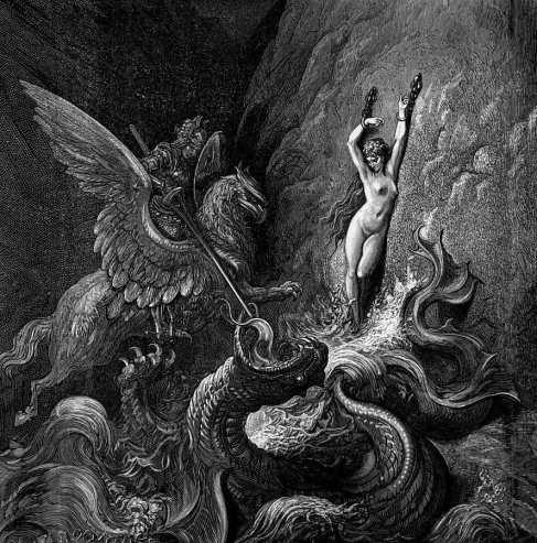 Grabado de Gustave Doré del Orlando furioso de Ariosto.